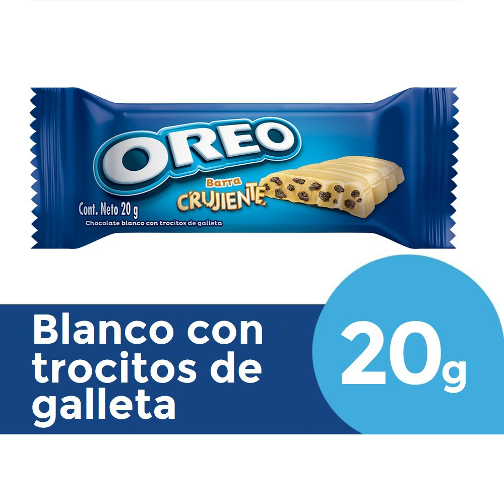 Barra crujiente de chocolate blanco rellena con trocitos de galleta