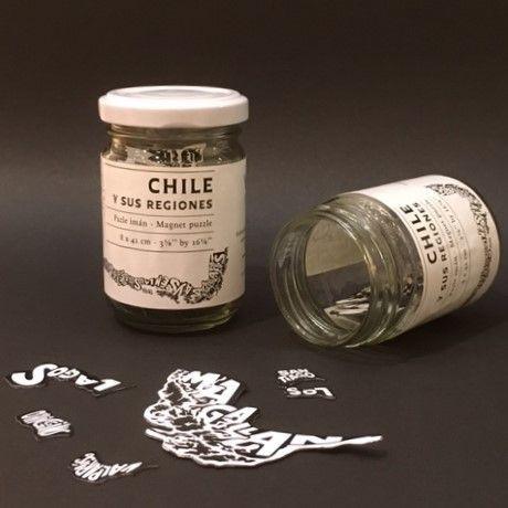 Puzzle magnético Chile y sus regiones Empaque: frasco de vidrio 156cc
