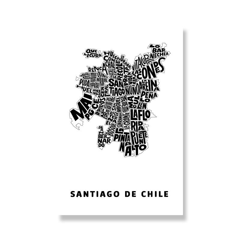 Postal Santiago de Chile tipográfico Postal: 10 x 15 cm