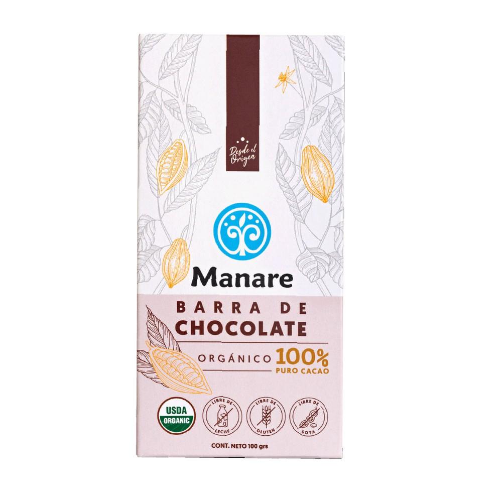 Chocolate orgánico 100% cacao Barra 100 g
