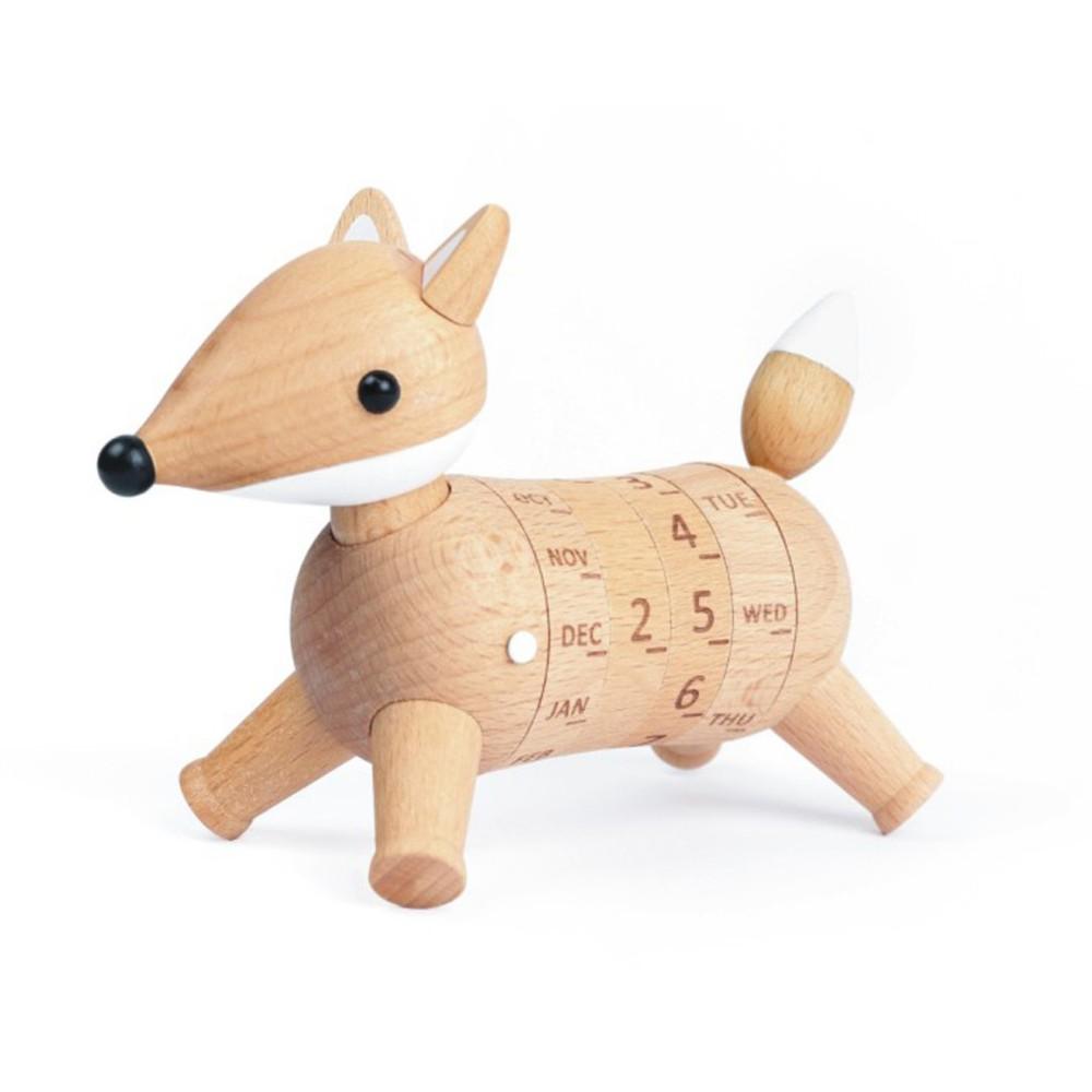Calendario de madera Regalo zorrito Caja: 17x12x9 cm