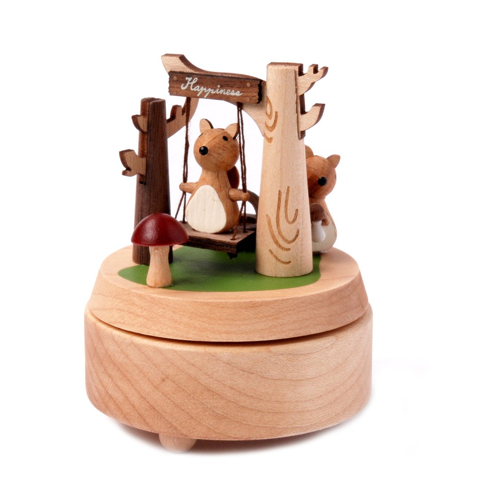 Caja musical madera regalo columpio