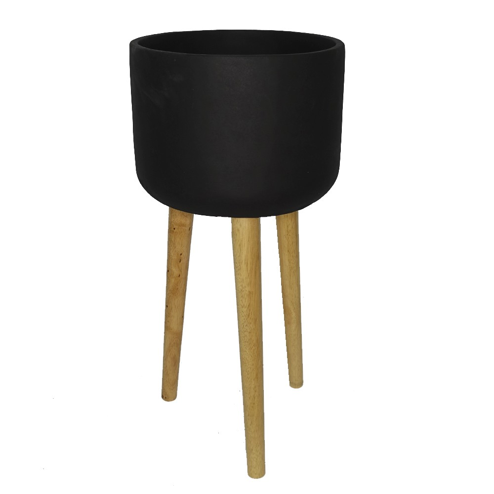 Macetero negro 3 patas madera alto