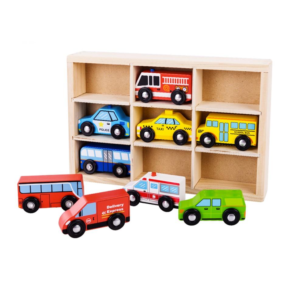 Set de autos madera 9u