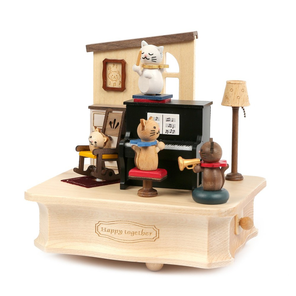 Caja musical madera regalo gatos piano