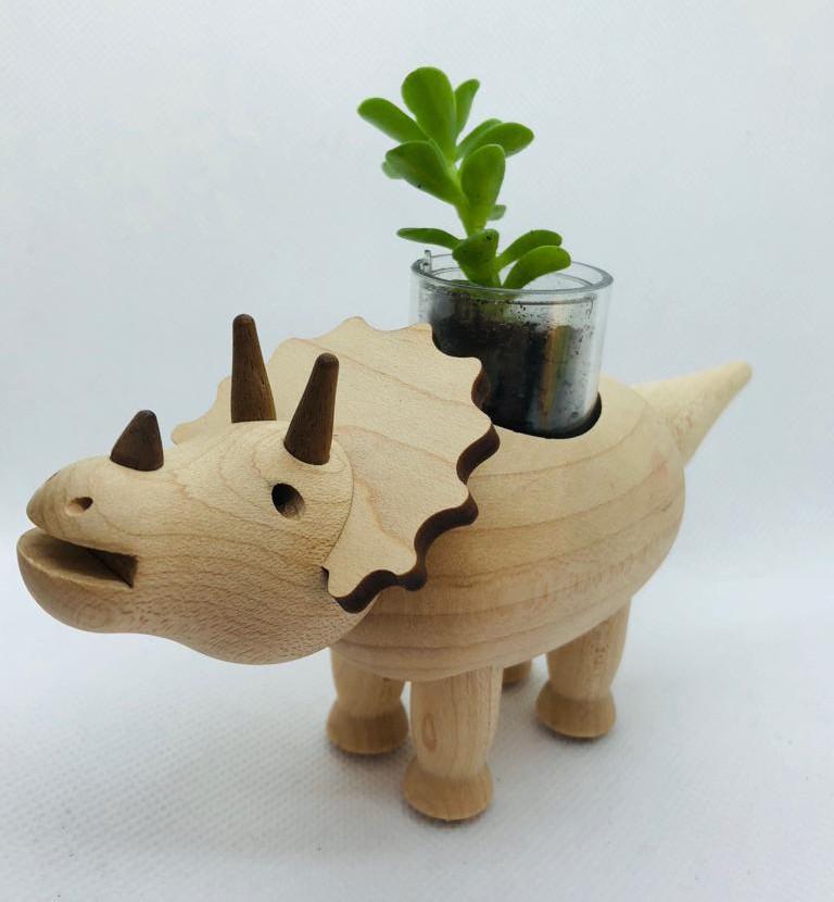 Macetero de madera triceratops con smartpot regalo