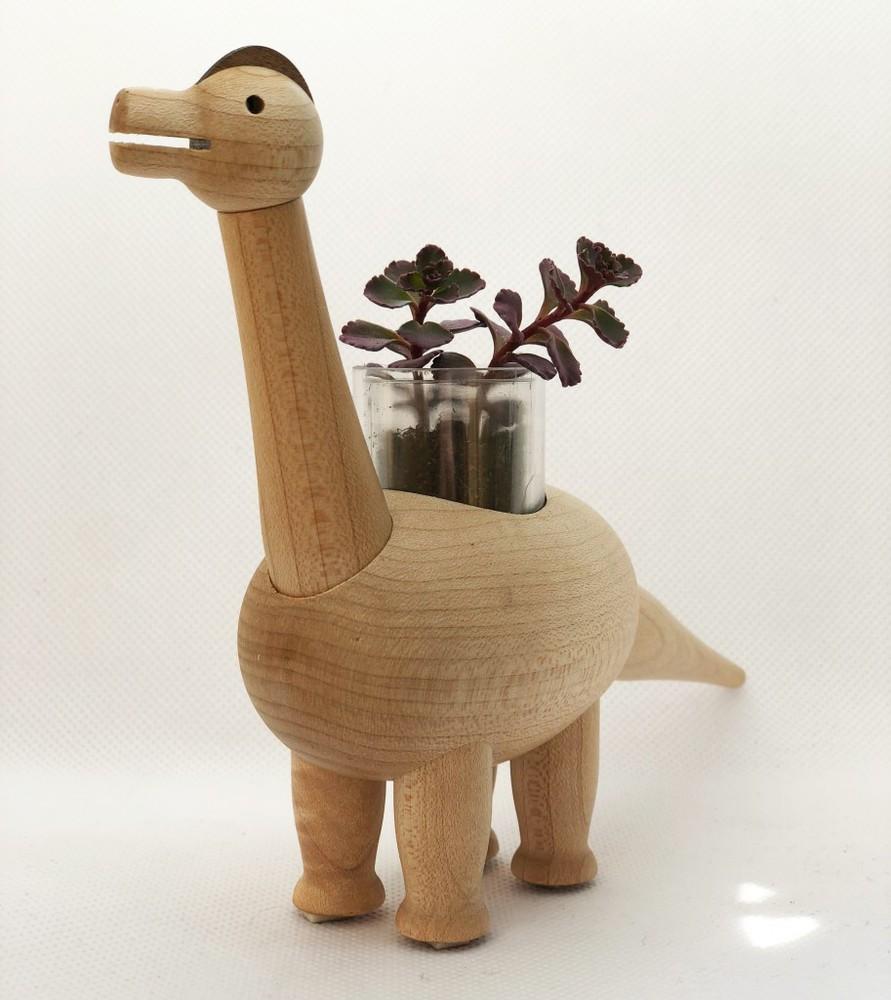 Macetero de madera brontosaurio regalo