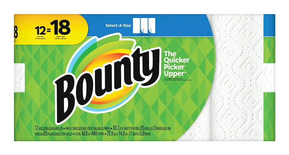 Bounty Paper Towels 12=18 Rolls