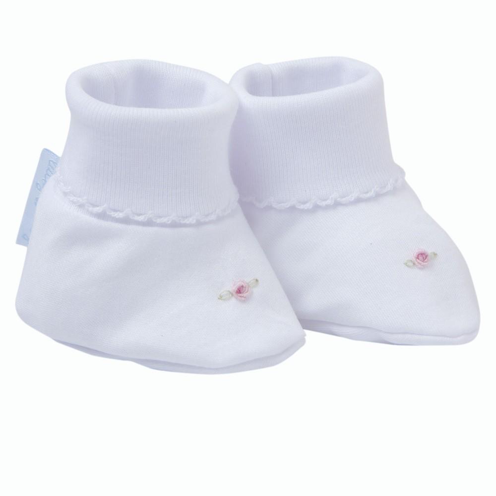 Zapatitos flor recién nacido niña bordado a mano Recién Nacido