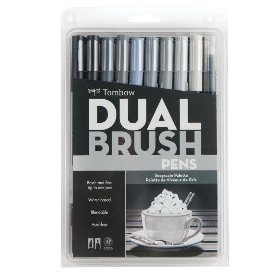 Set marcadores dual brush grises 12 colores