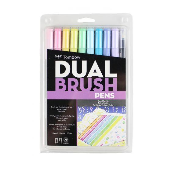 Set marcadores dual brush colores pasteles 10 unidades.
