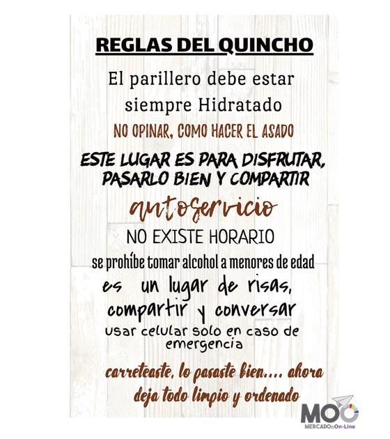 """Cuadro de madera """"Reglas del quincho"""". 40x60 cm"""