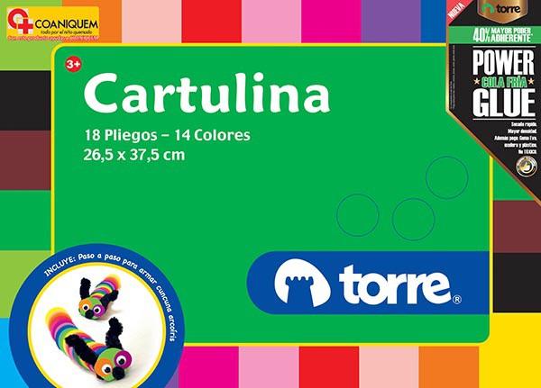 Carpeta con papel cartulina 18 pliegos, 14 colores, 26,5x37,5 cm