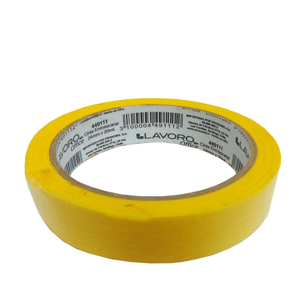 Cinta enmascarar amarilla 24 mm x 20 metros
