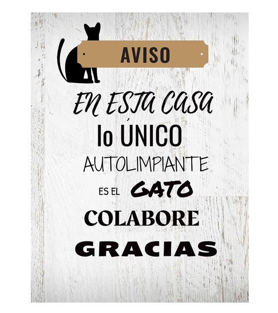 """Cuadro de madera """"el gato autolimpiante"""". 30x40 cm"""
