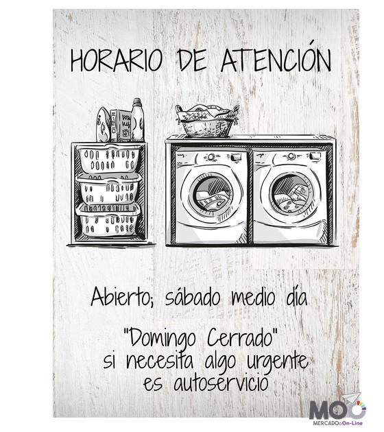 """Cuadro de madera """"horario de atención"""". 30x40 cm"""