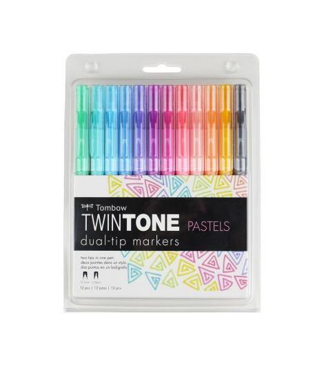 Set 12 marcadores doble punta pastel tombow