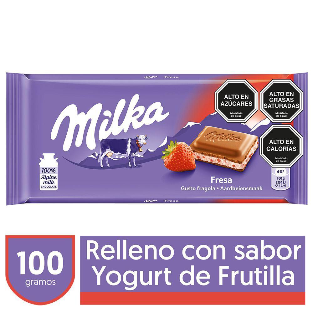 Chocolate de leche relleno con yogurt de frutilla