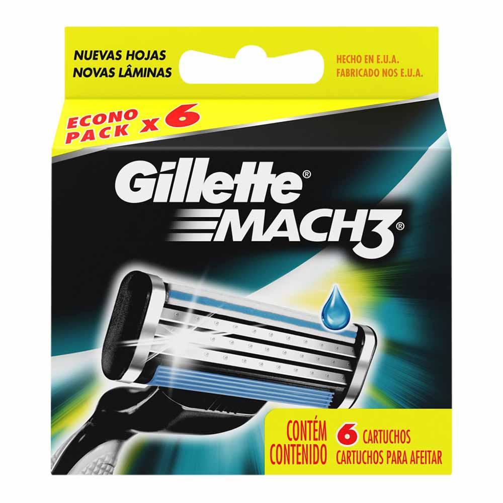 Repuesto para Máquina de Afeitar GILLETE Mach 3 Caja 6un