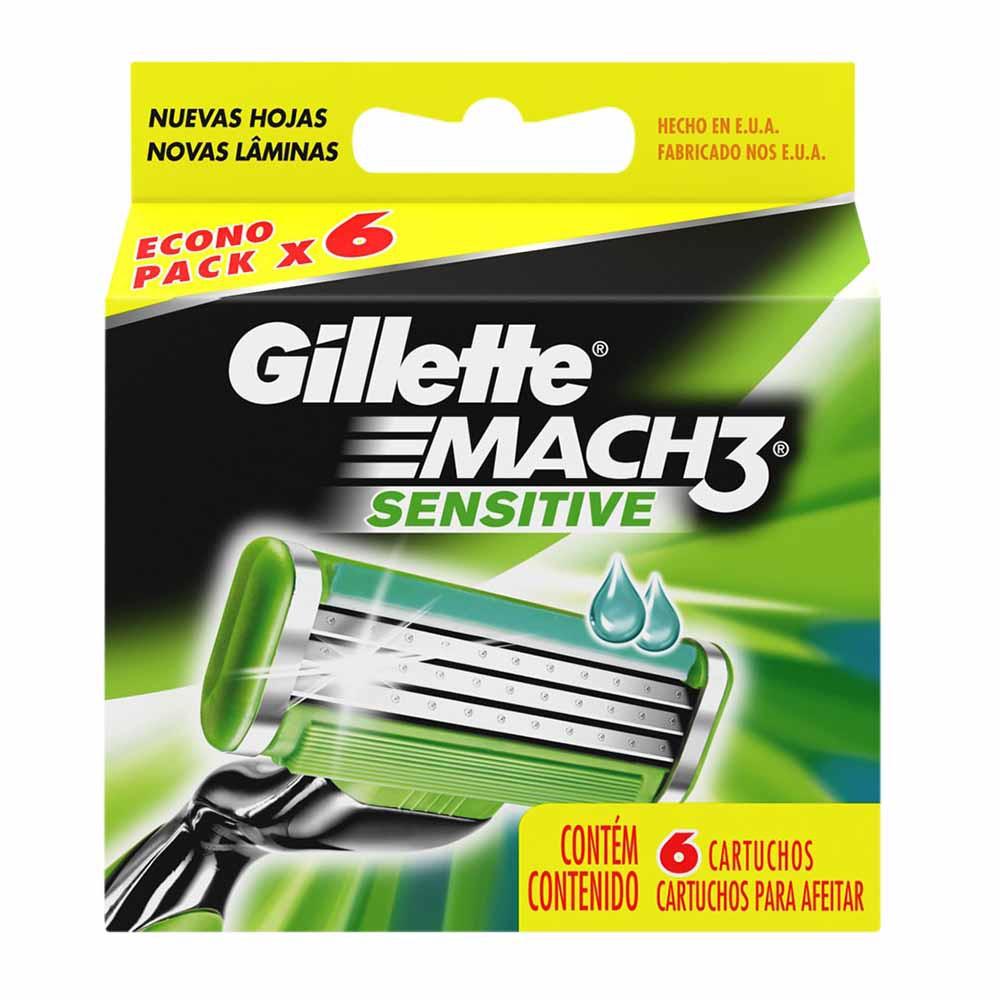 Repuesto para Máquina de Afeitar GILLETE Mach 3 Sensitive Caja 6un