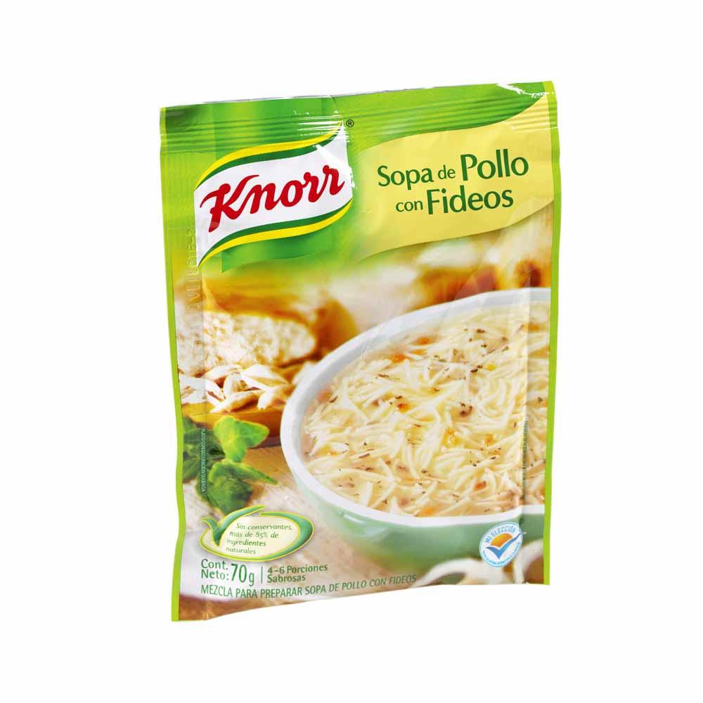 Sopa instantánea Pollo con fideos Paquete 12Un Sobre 64Gr