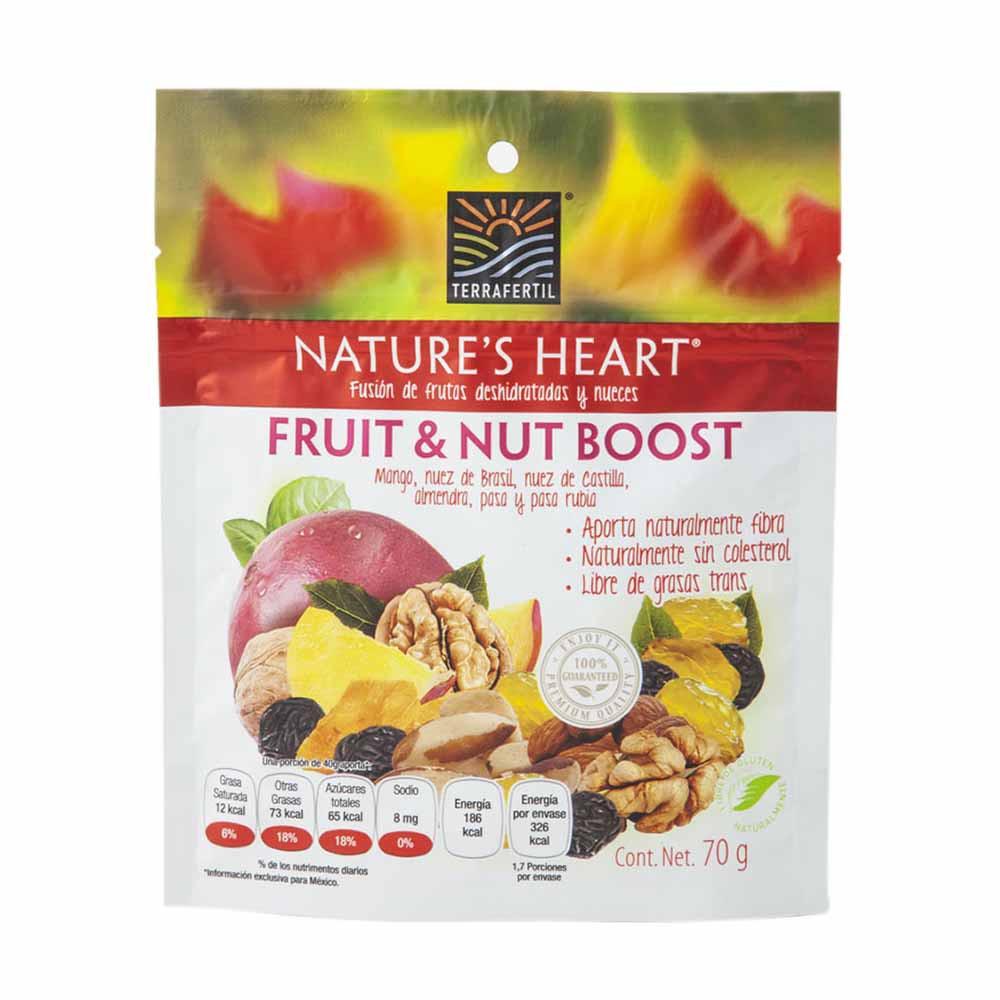 Mezcla de Frutas Deshidratadas y Nueces NATURE'S HEART Fruit & Nut Boost Doypack 70g