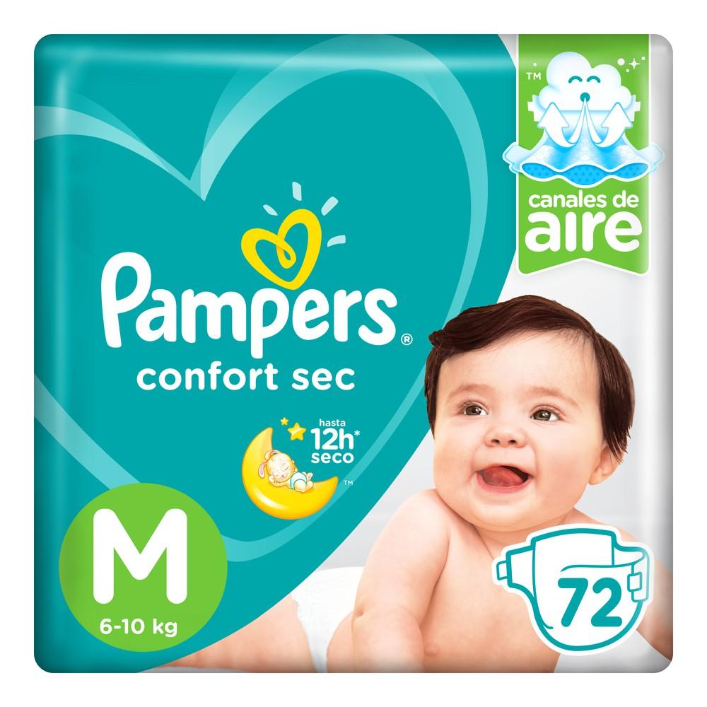 Pañales para Bebé Confort Sec Talla M Paquete 72un