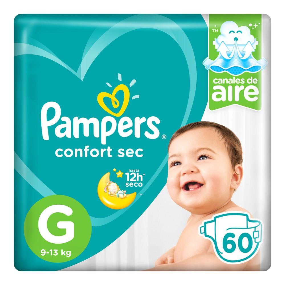 Pañales para Bebé Confort Sec Talla G Paquete 60un