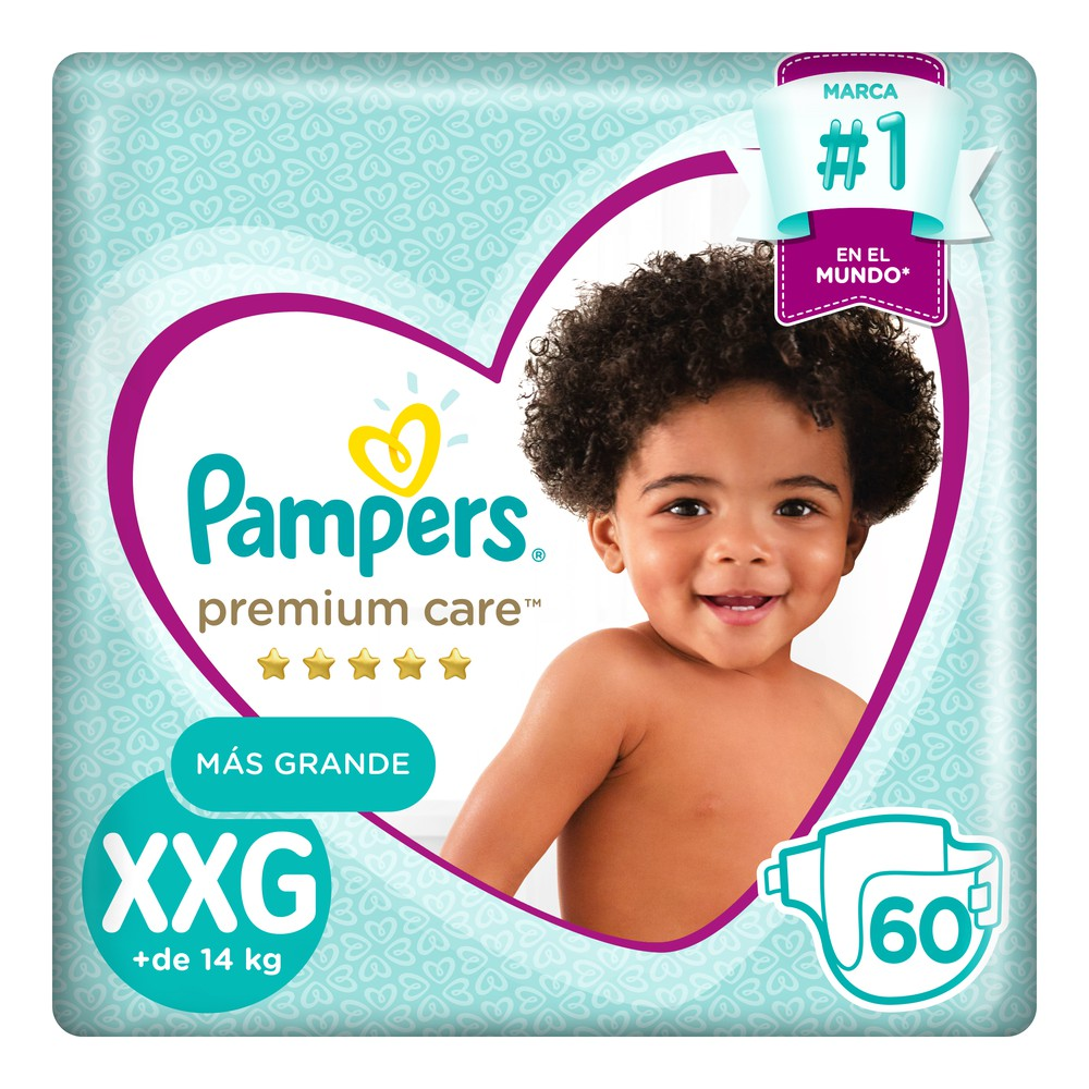Pañales para Bebé Premium Care Talla XXG Megapack Paquete 60un