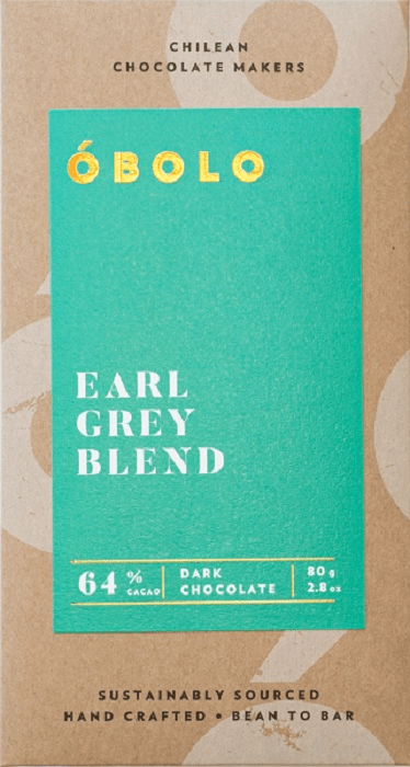 Barra Chocolate Vegano Earl Grey Blend 64% Cacao Dark Chocolate Barra 80 g