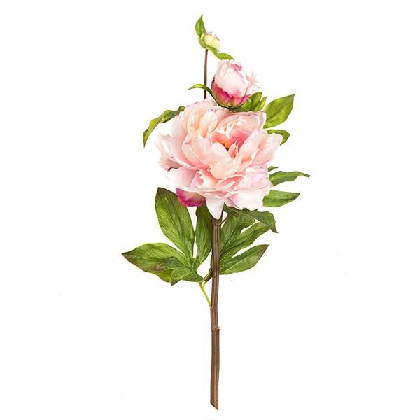 Peonia real touch 5 Peonía de seda de 78 cms de color rosa pálido.