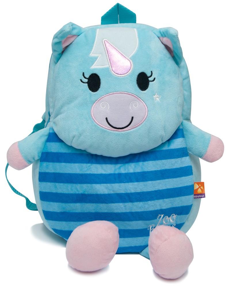 Mochila de unicornio azul con patitas
