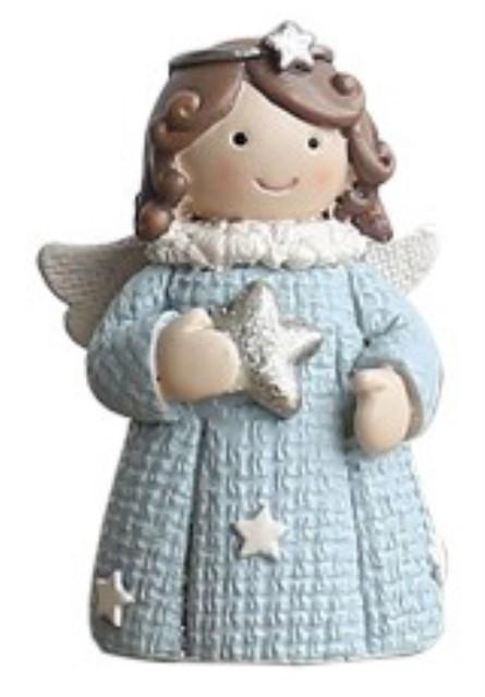Angelita celeste pequeña 5x5x7,5 cms
