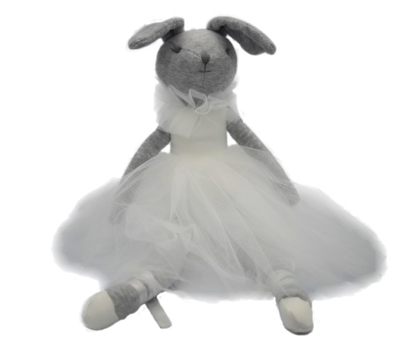 Peluche de coneja bailarina con tutu blanco 8x14x45 cms