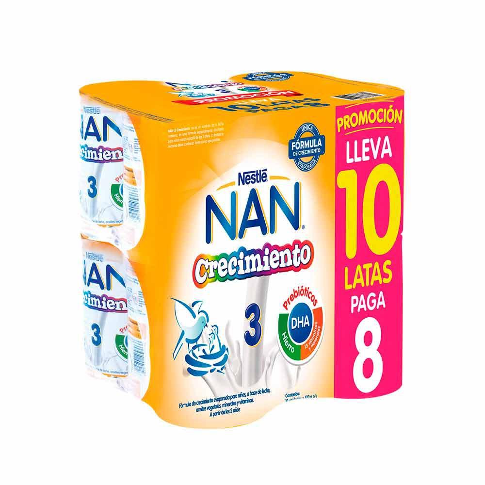 Leche Formulada Crecimiento Nan 3 Pack 10 Latas de 410 g c/u