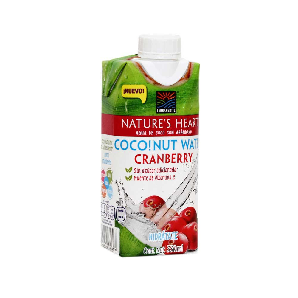 Agua de Coco y Cranberry Nature's Heart Caja 330 ml