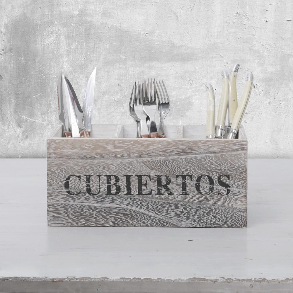 Caja cubiertos grey wash unidad