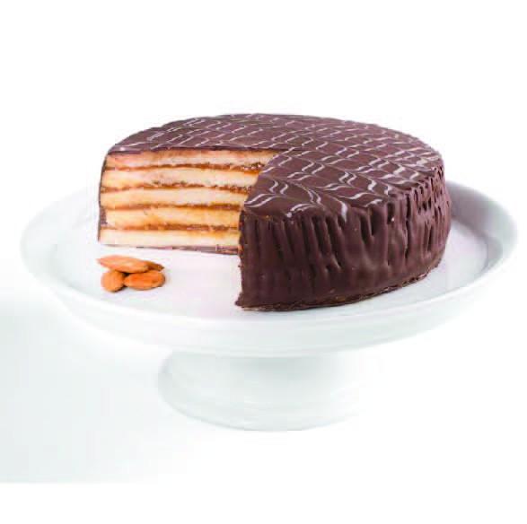 Torta 15p, mazapán de almendra y rellena con manjar, bañada en chocolate belga 15 personas