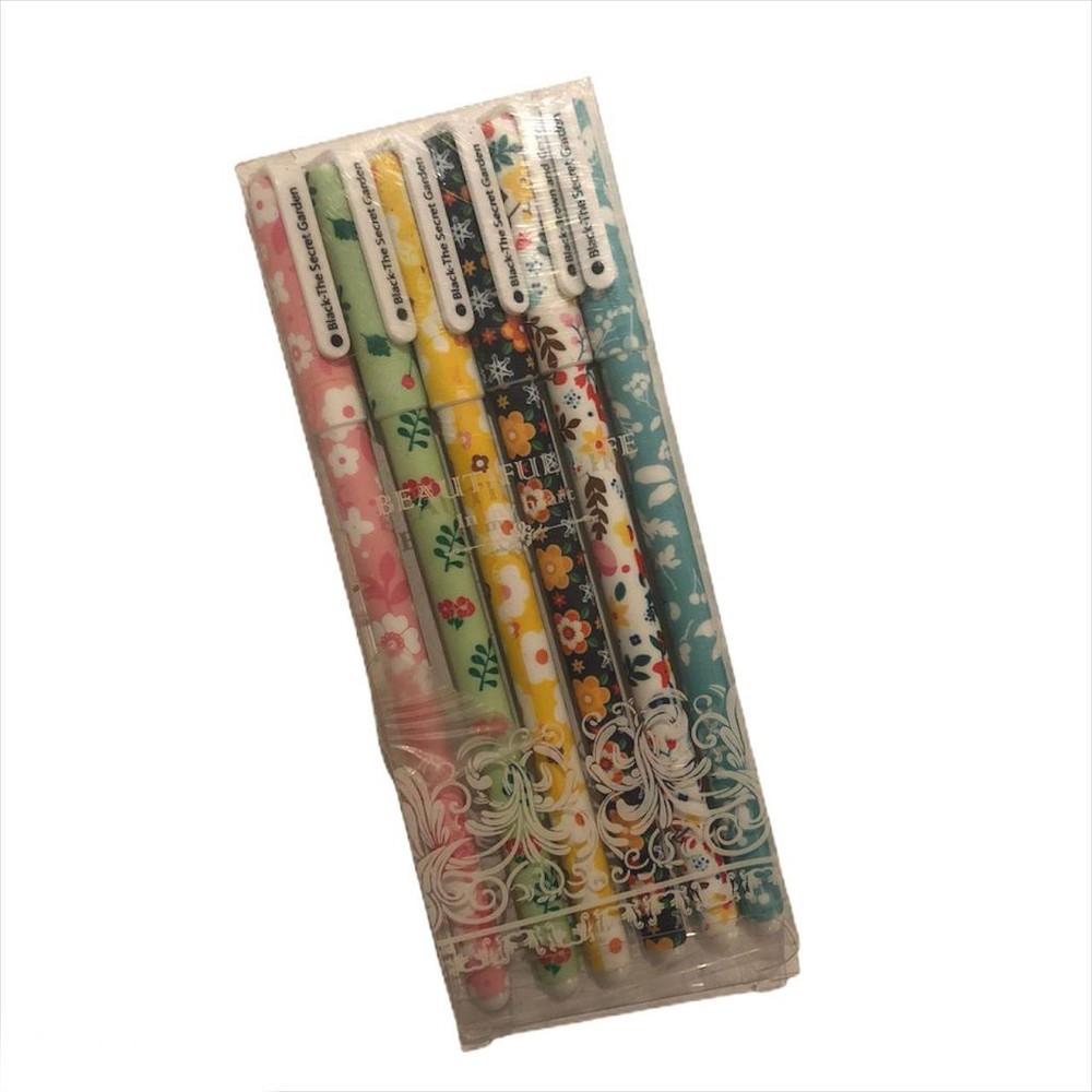 Set 6 lápices tinta flores