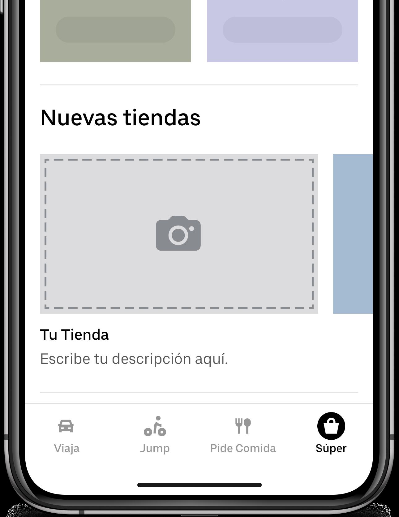 Cornershop dentro de la aplicación de Uber
