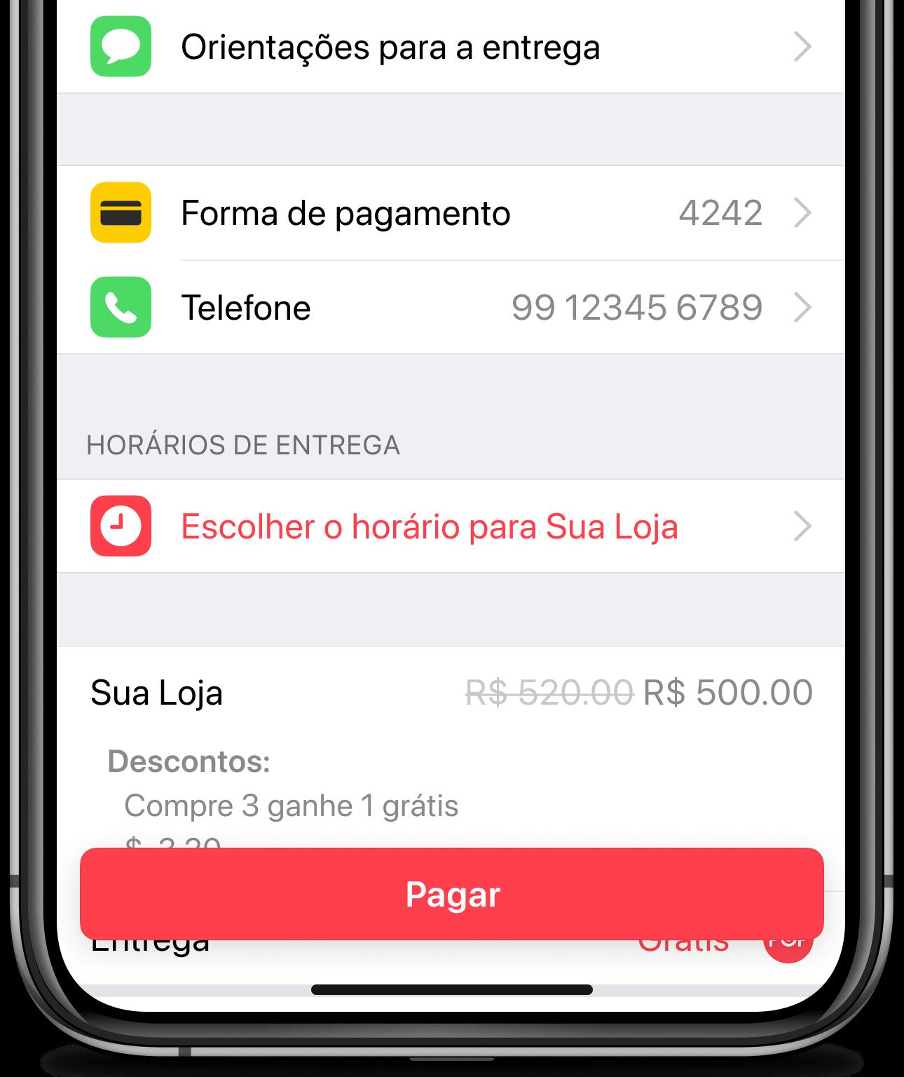 Fazendo pedido no app Cornershop